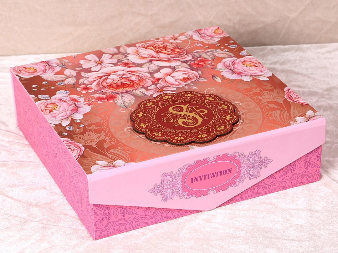 Floral Theme Boxed Indian Wedding Invitation Card-9296