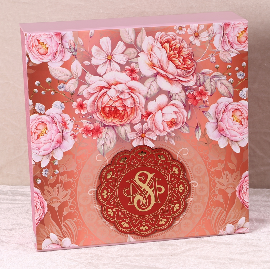 Floral Theme Boxed Indian Wedding Invitation Card-9298