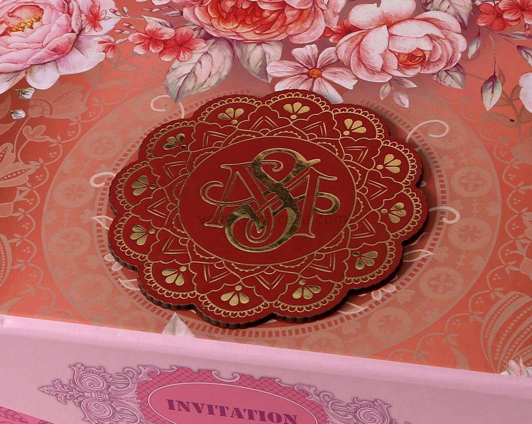 Floral Theme Boxed Indian Wedding Invitation Card-9299