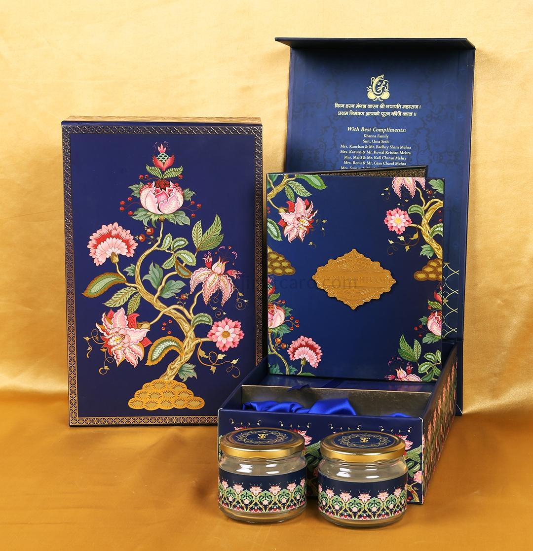Floral Design Boxed Indian Wedding Invitation Card-0