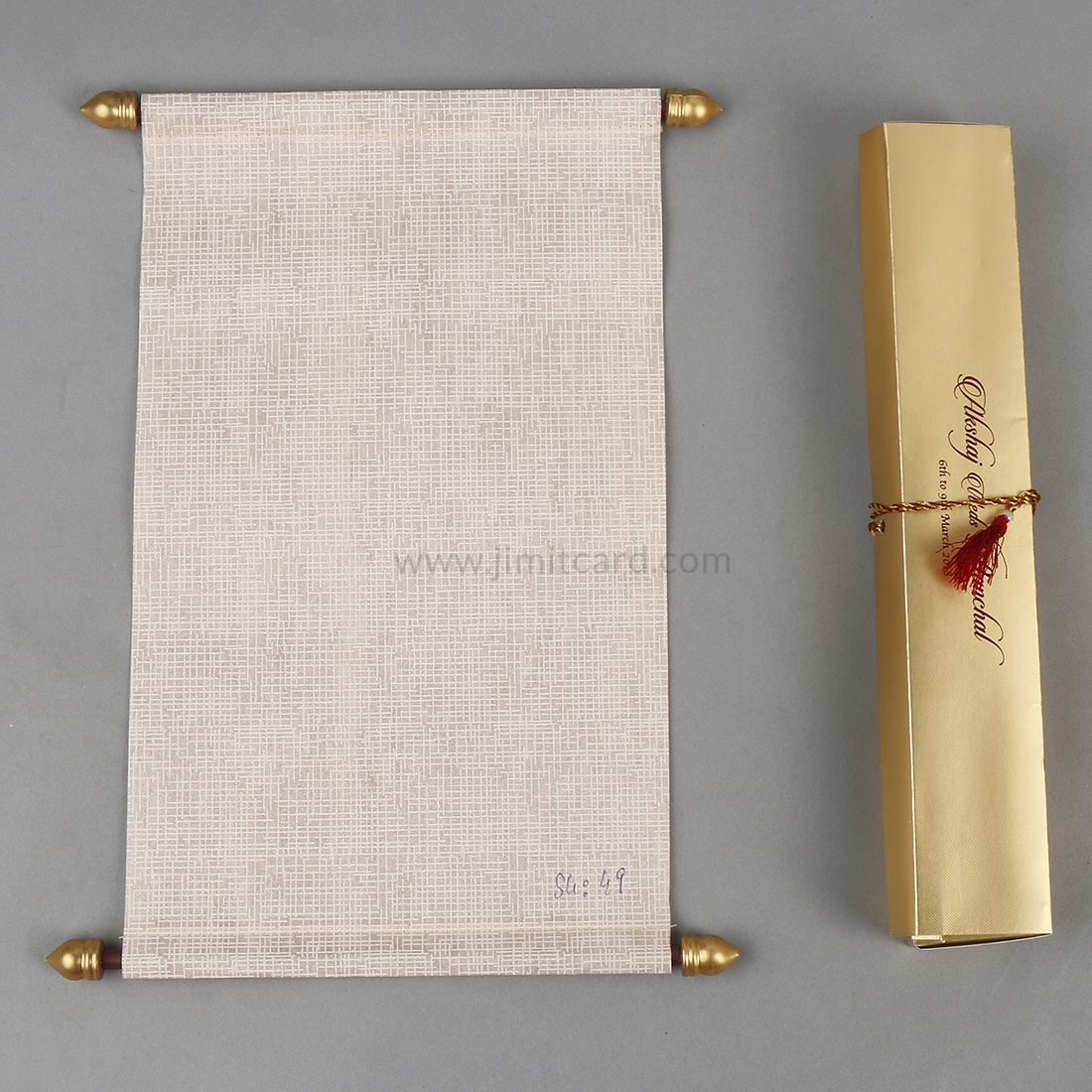 Indian Scroll Wedding Invitation Card in Light Orange Wooly Paper-0