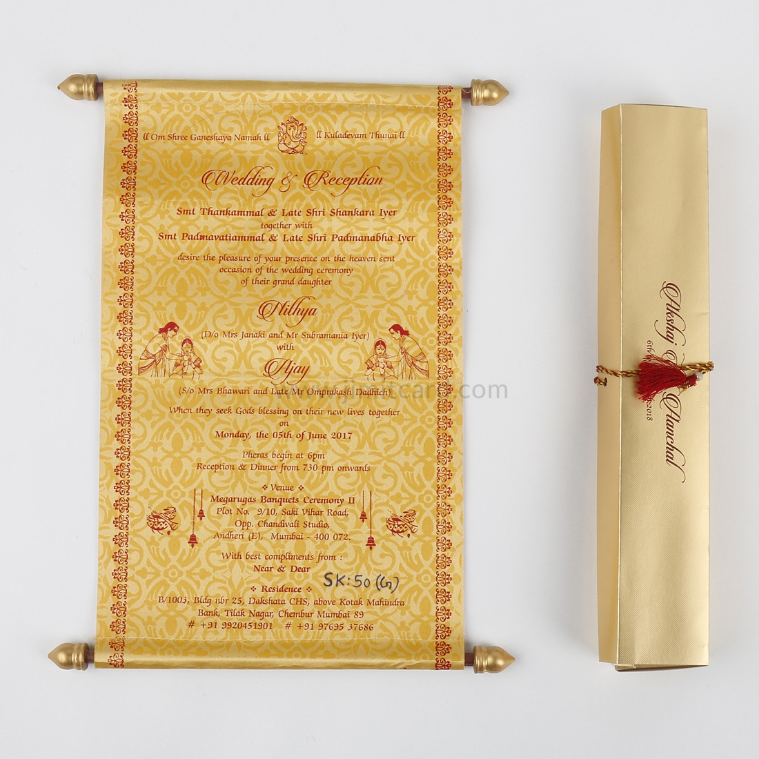 Design for Marriage Card Scroll Style in Golden Satin-9191
