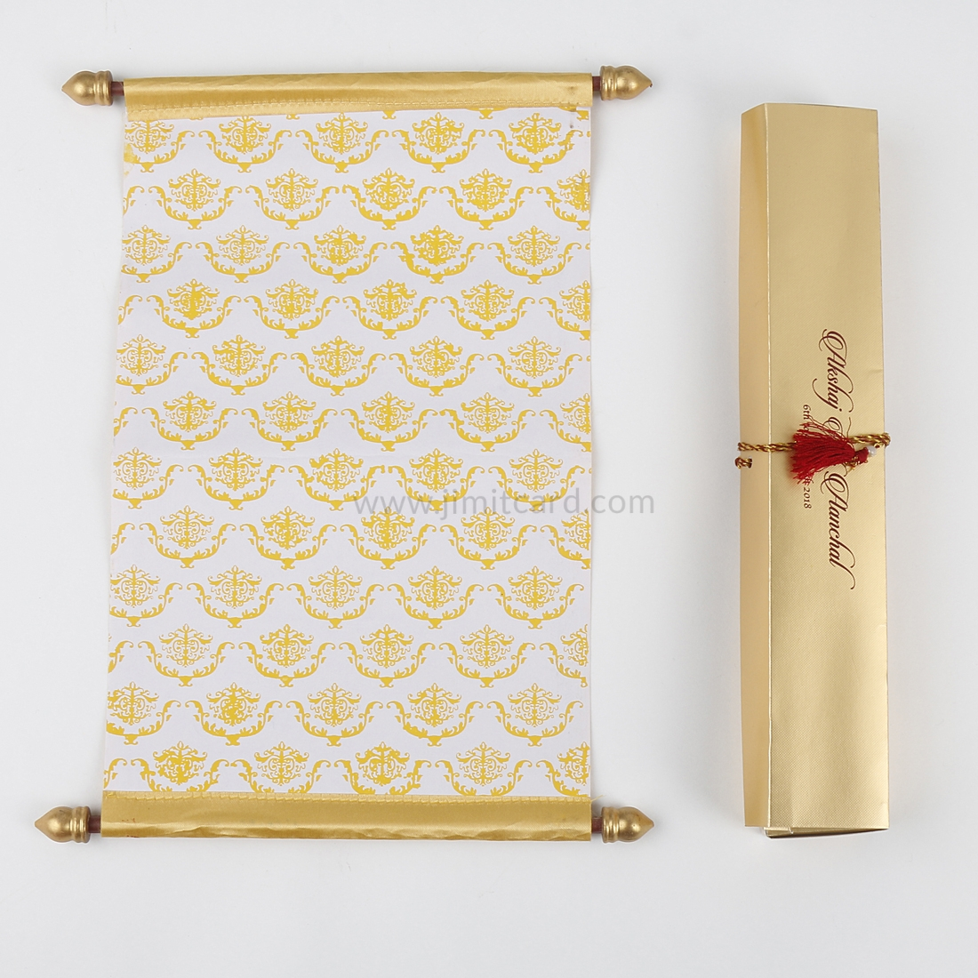 Design for Marriage Card Scroll Style in Golden Satin-9187