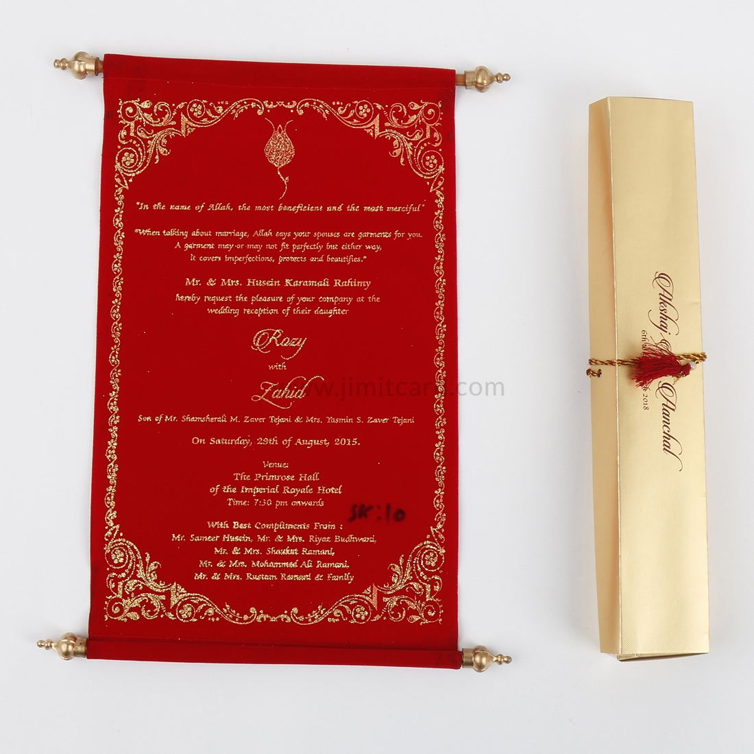 Elegant scroll wedding invitations in Red Velvet-0