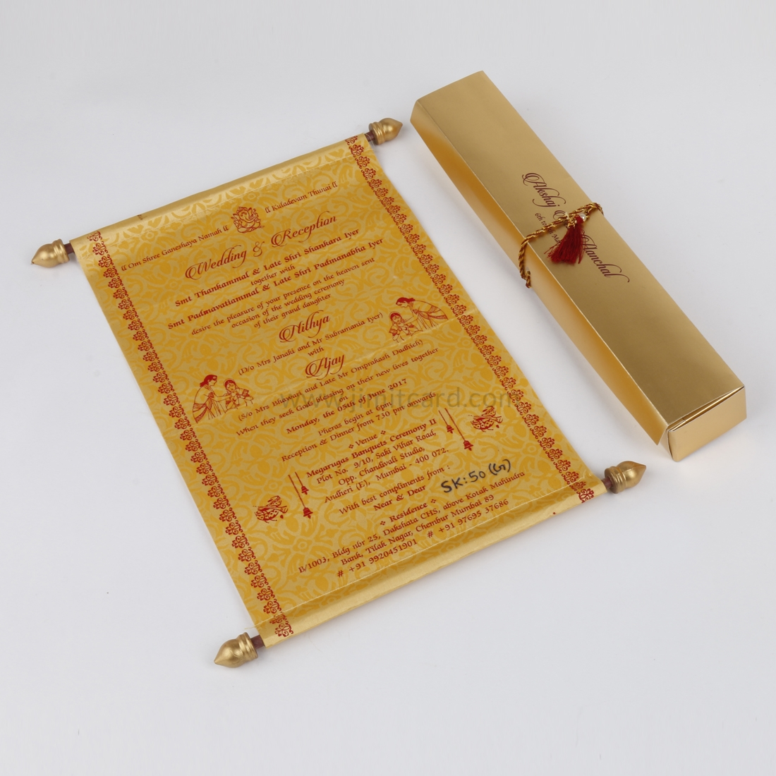 Design for Marriage Card Scroll Style in Golden Satin-0
