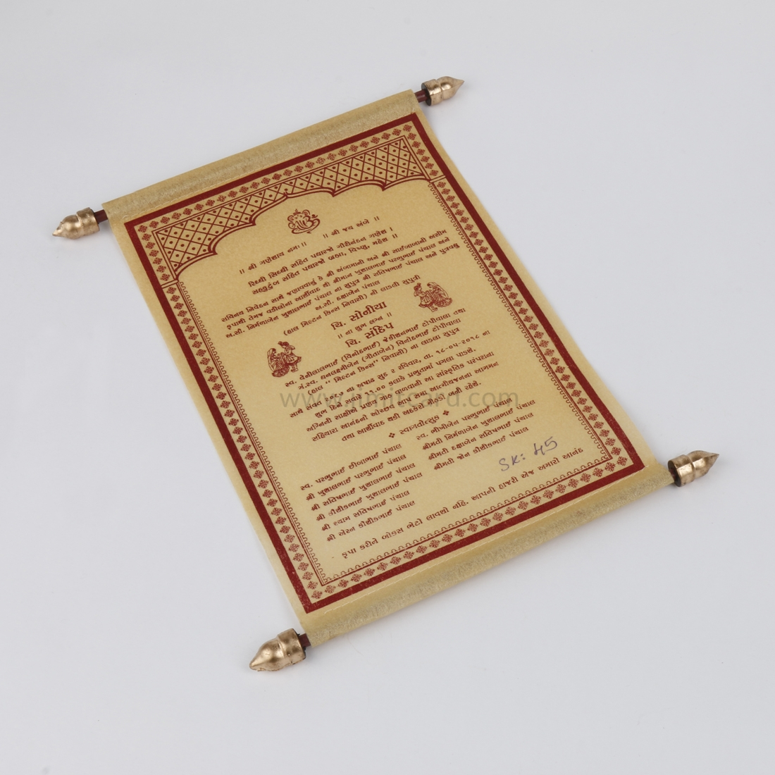 Lakhota Style Wedding Invitation Card in Golden Wooly Paper-9155