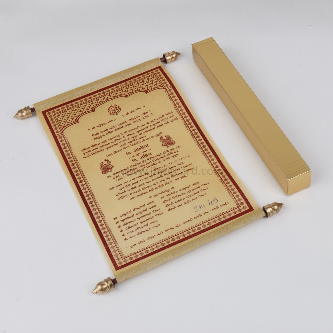 Lakhota Style Wedding Invitation Card in Golden Wooly Paper-0