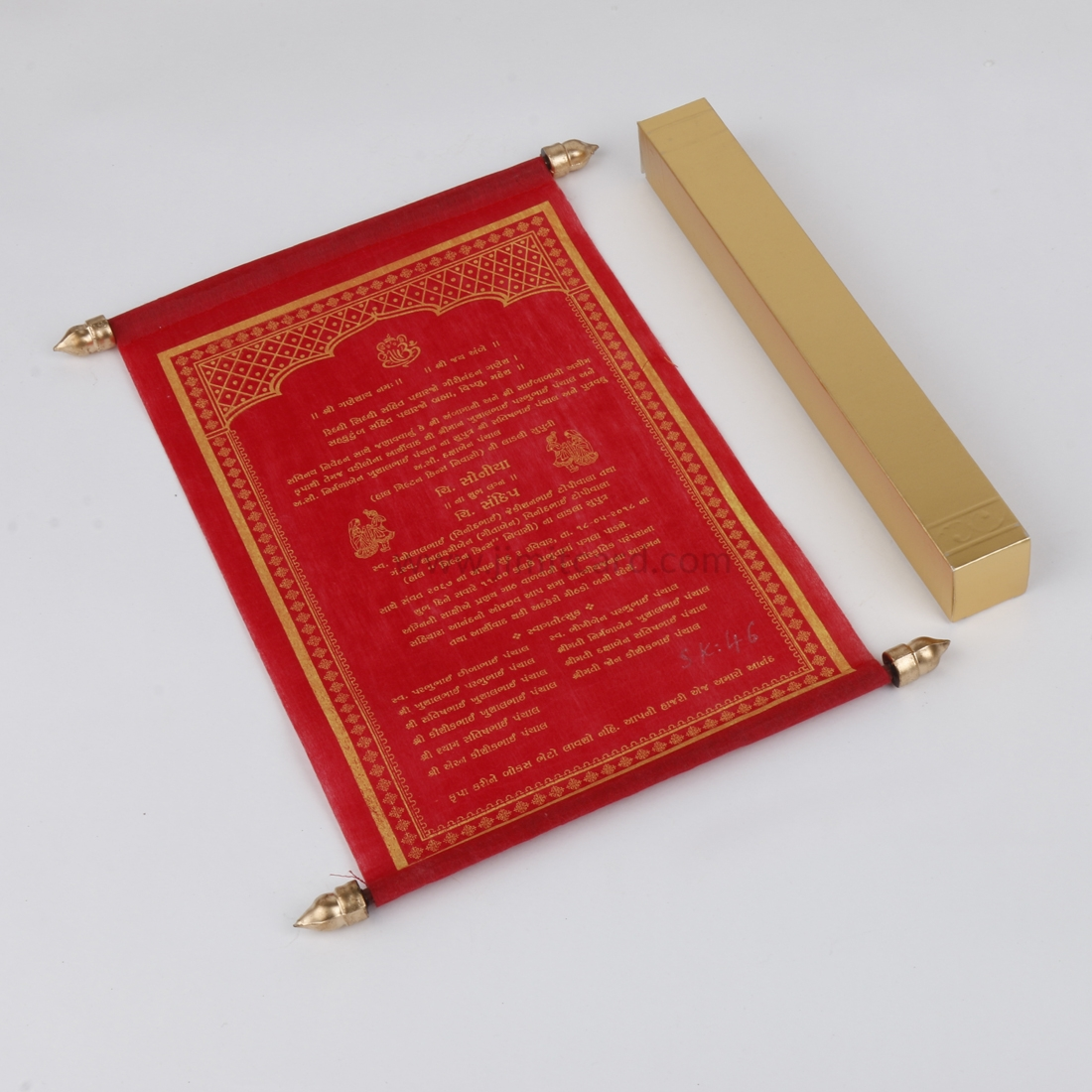 Personalized Wedding Scroll Invitation Card in Red Wooly Paper-0