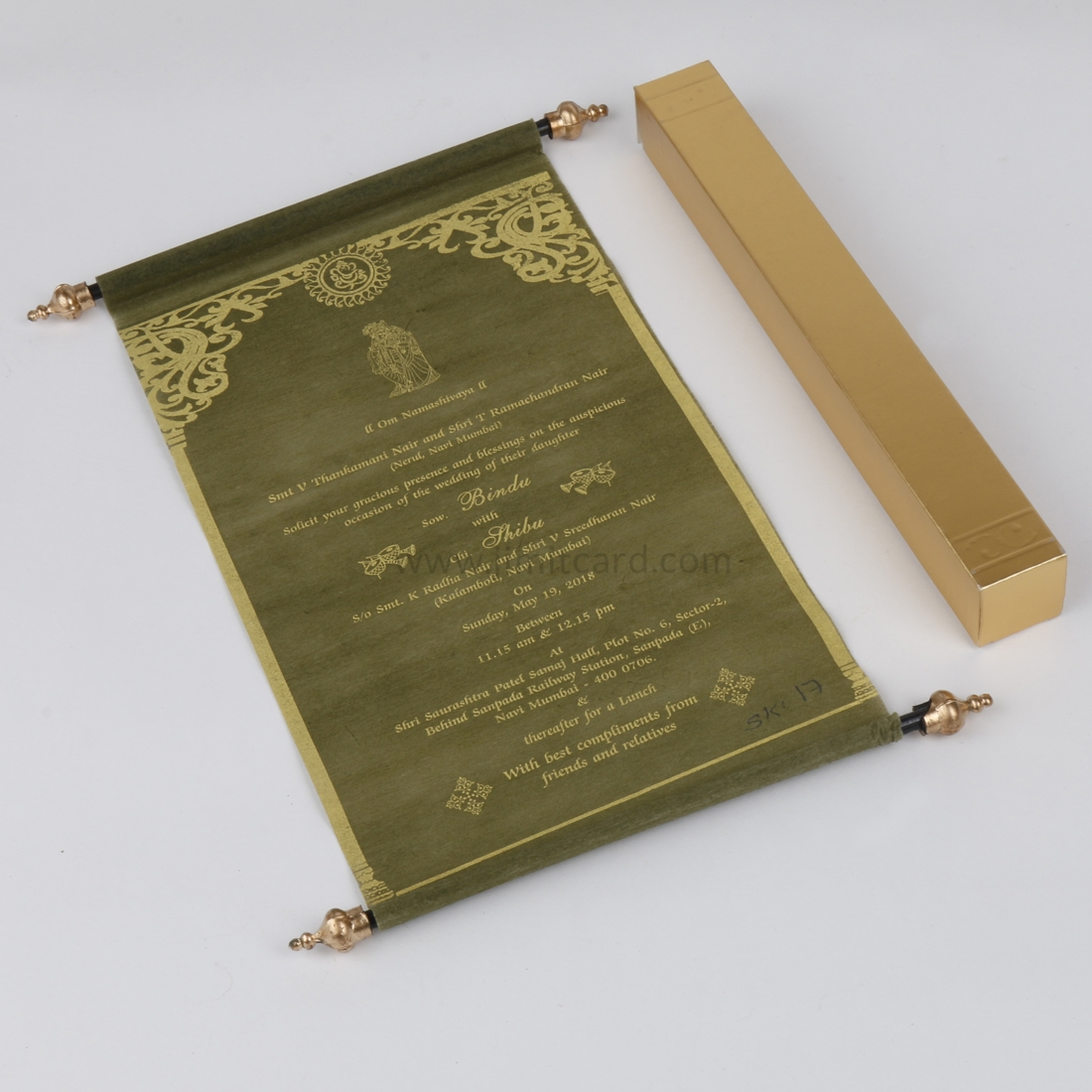 Scroll Wedding Invitation Card in Green Wooly Paper-0