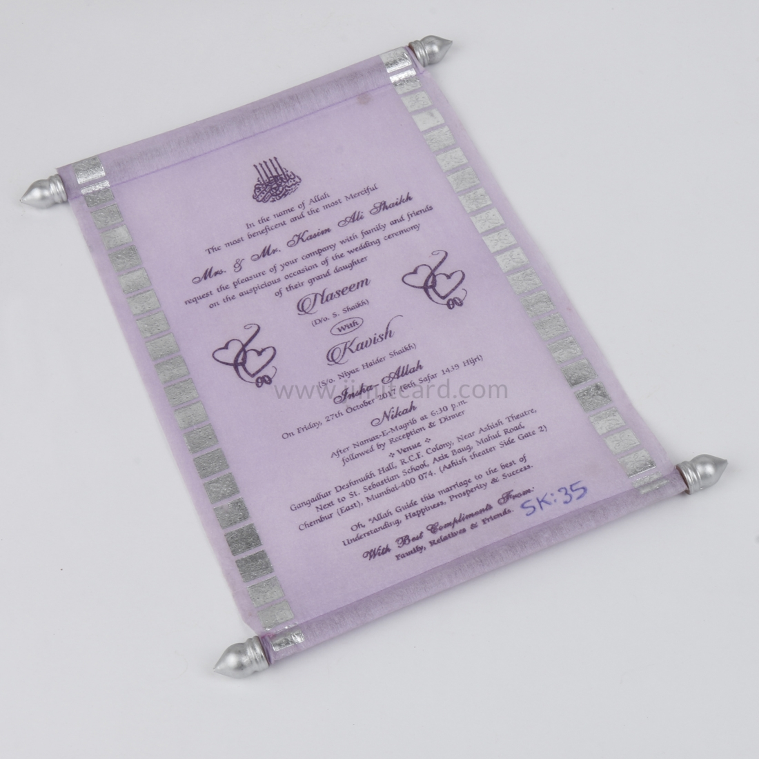 Indian Scroll Wedding Invitation Card in Purple Wooly Paper-9125