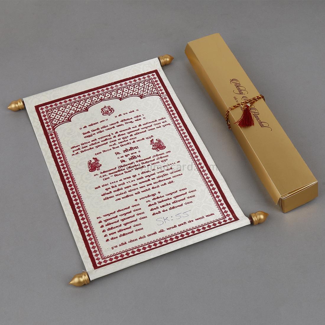 Roll Style Wedding Invitation Card in Cream Satin-0