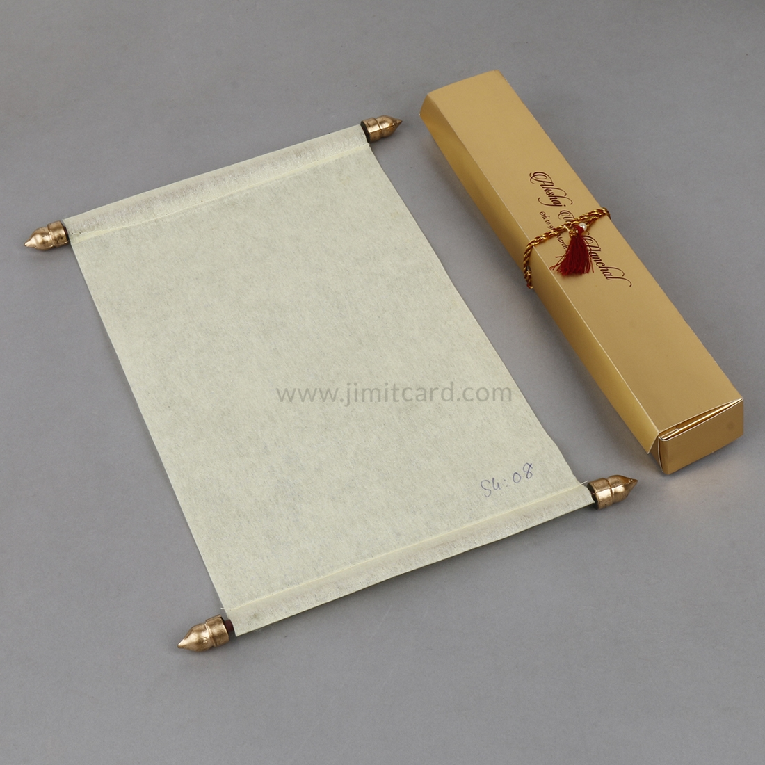 Asian Scroll Wedding Invitation Card in Cream Wooly Paper-8997