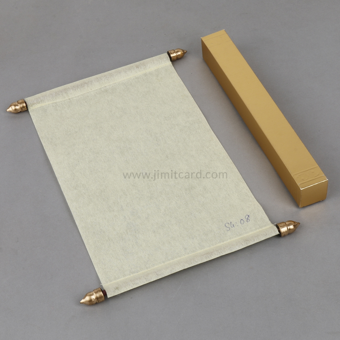 Asian Scroll Wedding Invitation Card in Cream Wooly Paper-0