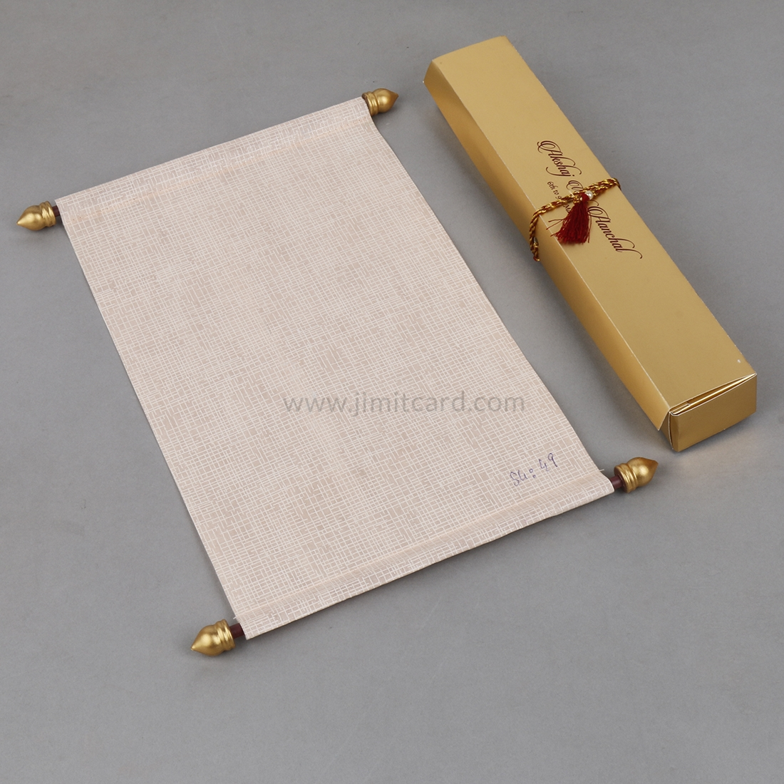 Indian Scroll Wedding Invitation Card in Light Orange Wooly Paper-9178
