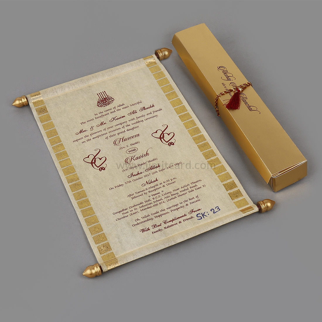 Designer Scroll Wedding Invitation in Golden Wooly Paper-0