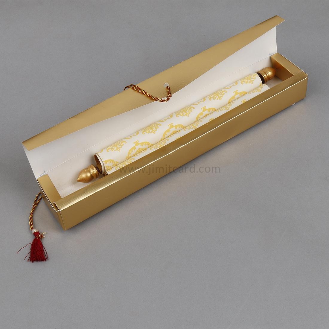 Scroll Invitations for Wedding in Golden Satin-9183