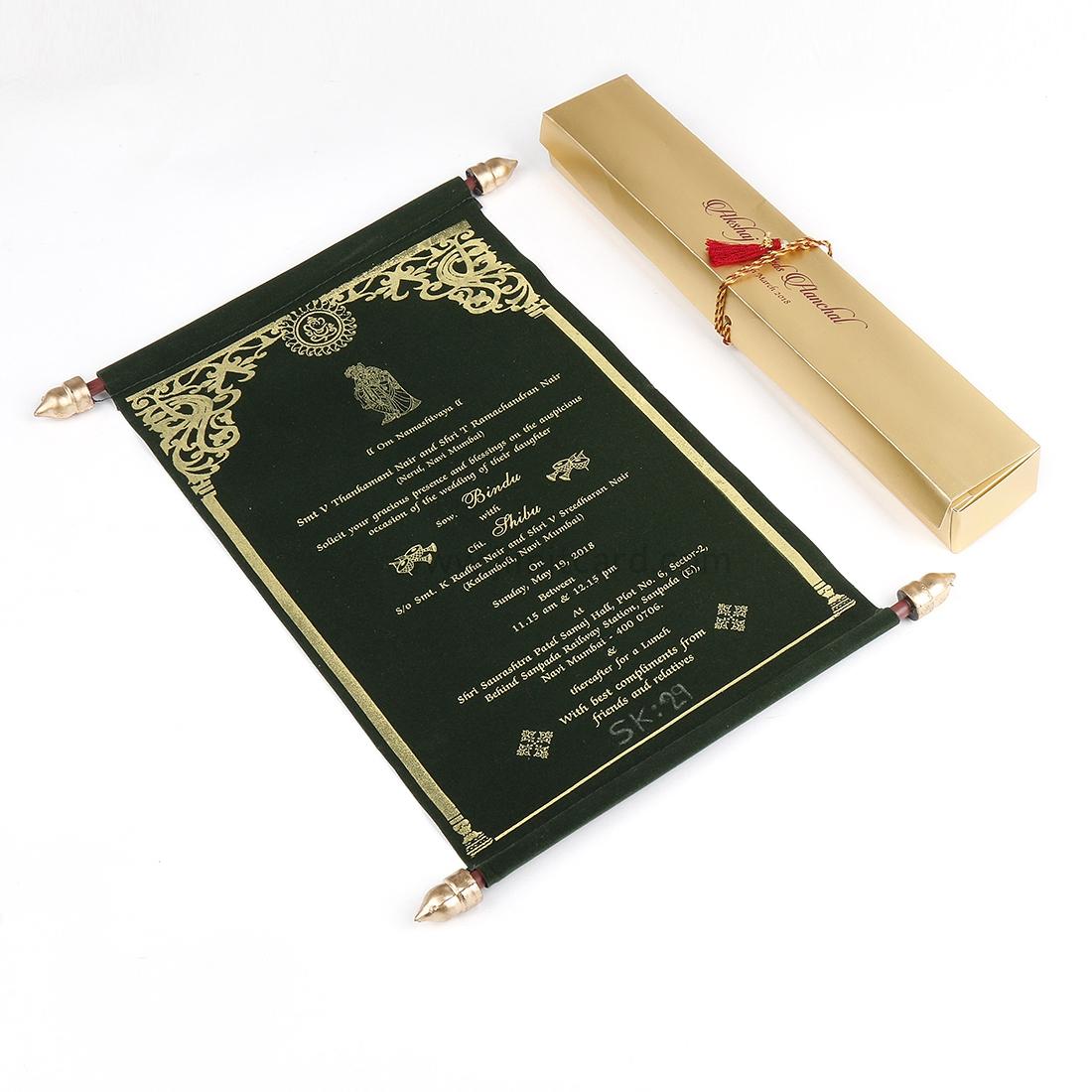 Marriage Scroll Invitation in Green Velvet-0