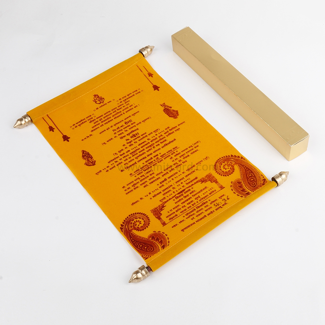 Indian Scroll Wedding Card in Yellow Velvet-9128