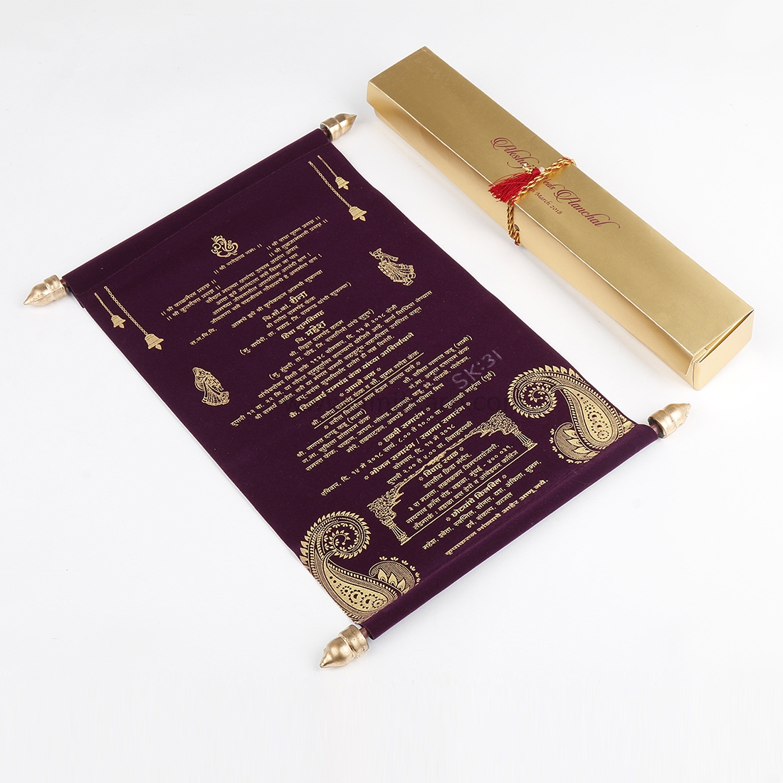 Vintage scroll wedding invitation in Purple Velvet-0