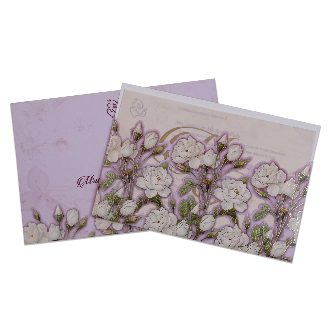 White Flowers in Lavender Color Wedding Card -0