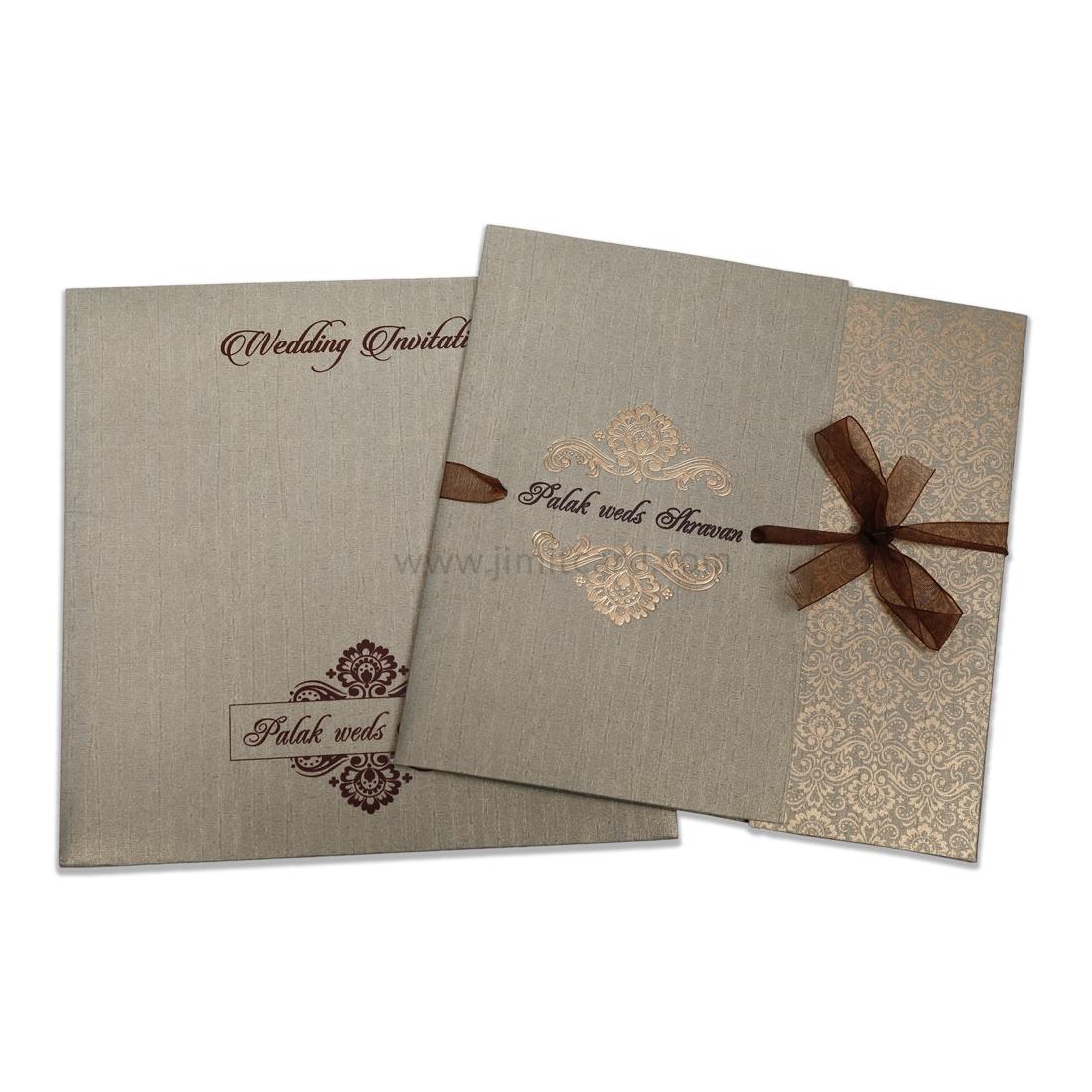 Shinny Grey Wedding Invitation Card For All Religion-0