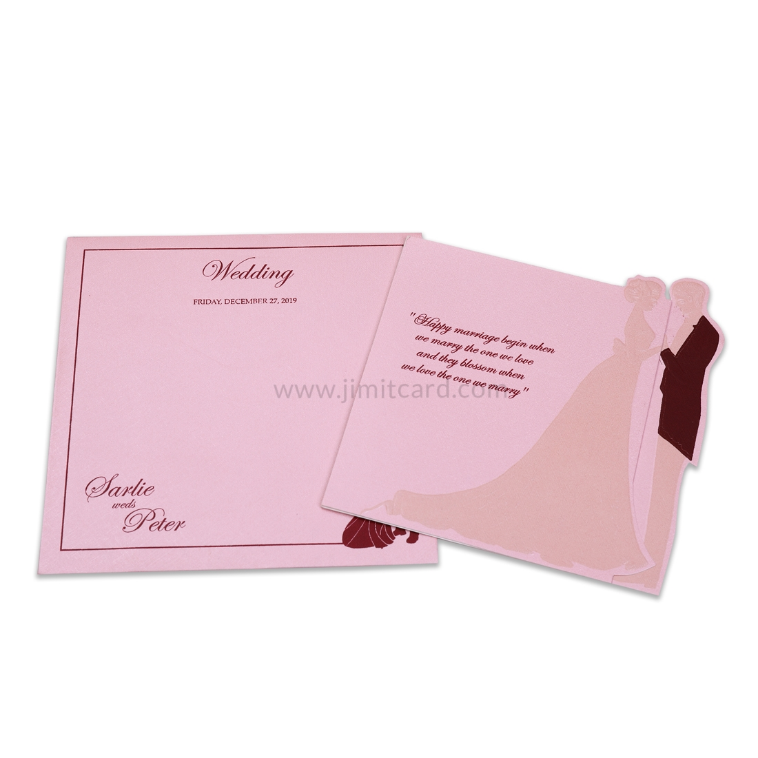 Pink Embedded Bride and Groom With Laser Cut Design Wearing Wedding Dress -0