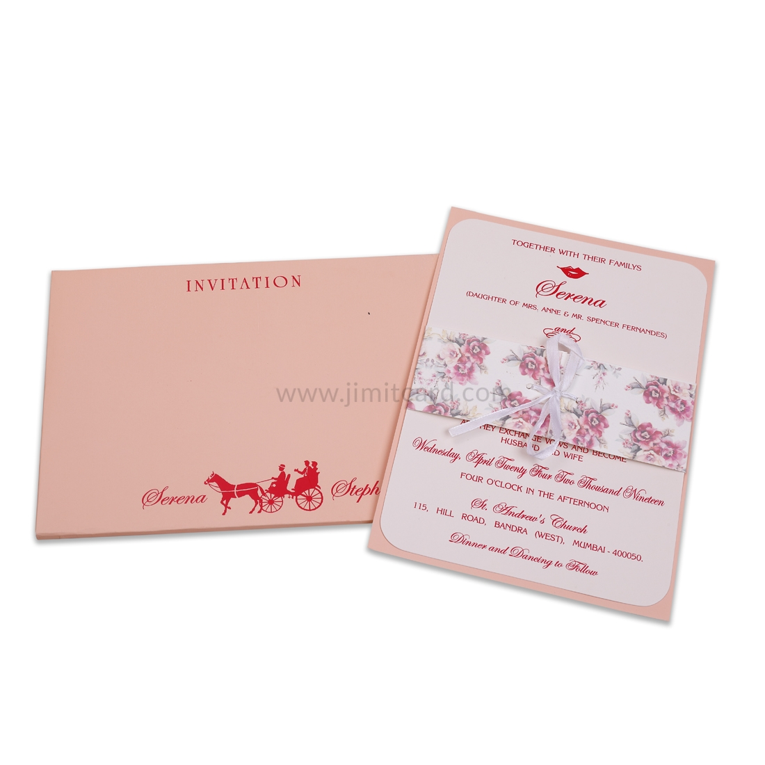 Simple Peach Color Ribbon Style Wedding Invitation Card -0