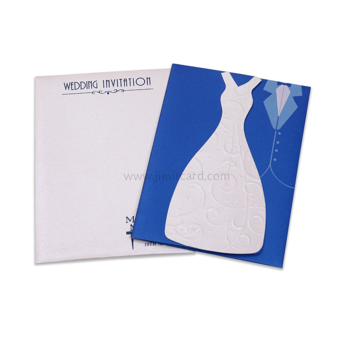 Catholic Laser Cut Wedding Dress Invitation Card -0