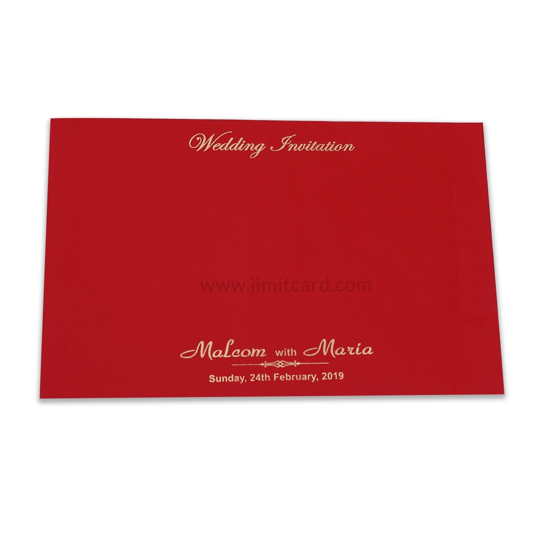 Red Color Wedding Card With Laser Cut Border and Red Ribbon-12187