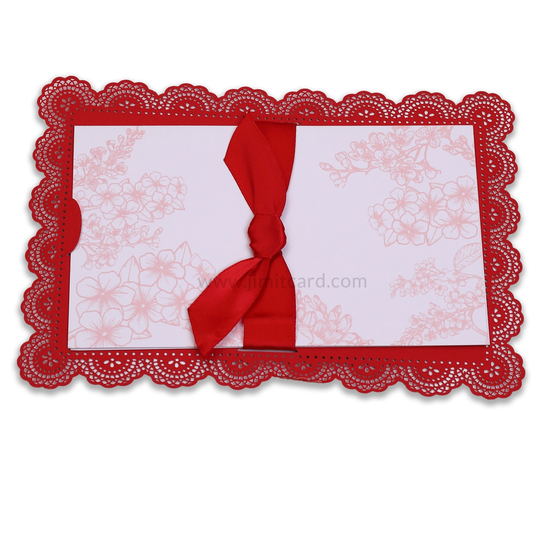 Red Color Wedding Card With Laser Cut Border and Red Ribbon-12189