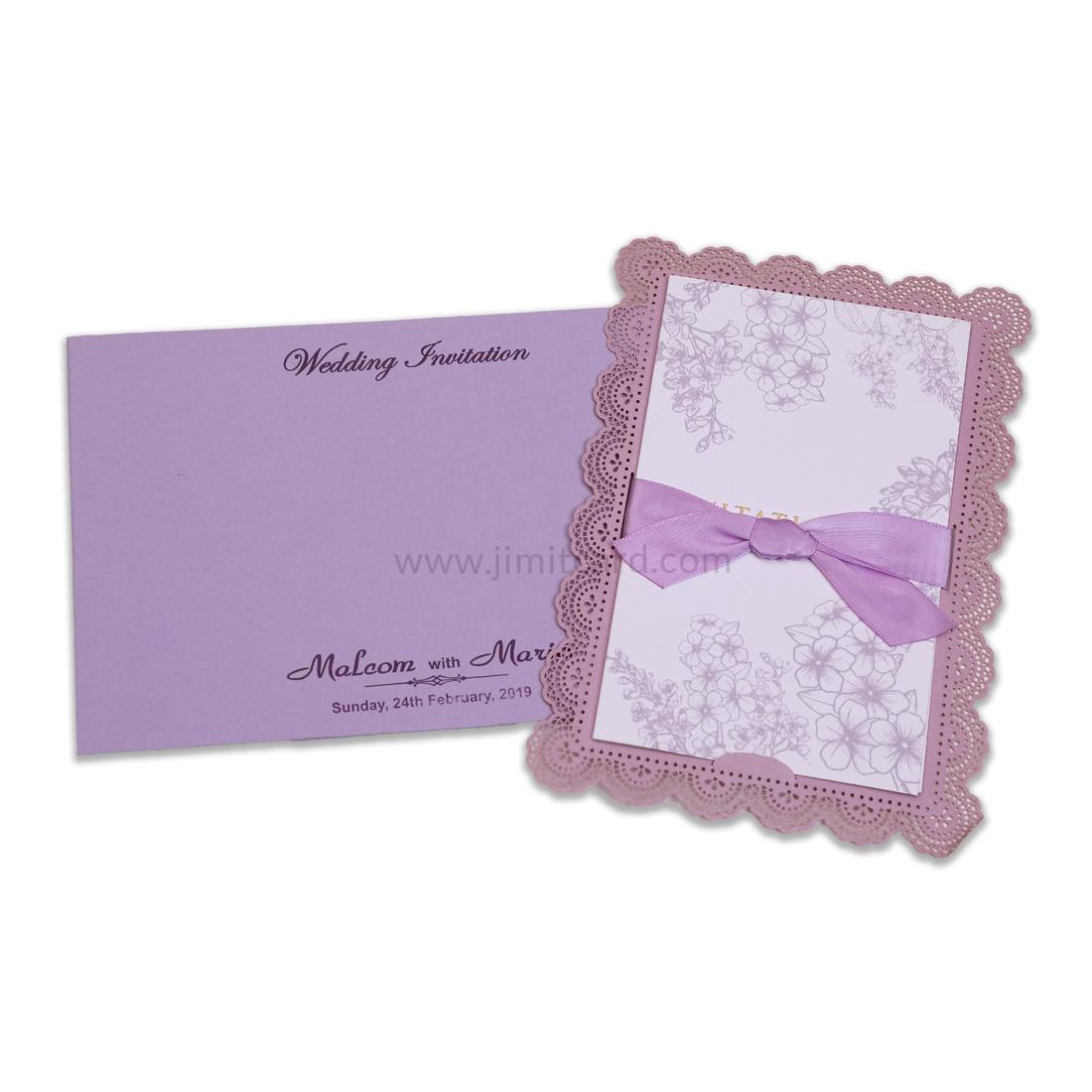 Lavender Color Wedding Card With Floral Laser cut Borders-0