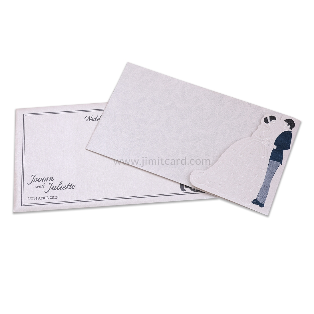 Shinny White Color Wedding Card with Catholic Laser Cut Bride And Groom-0