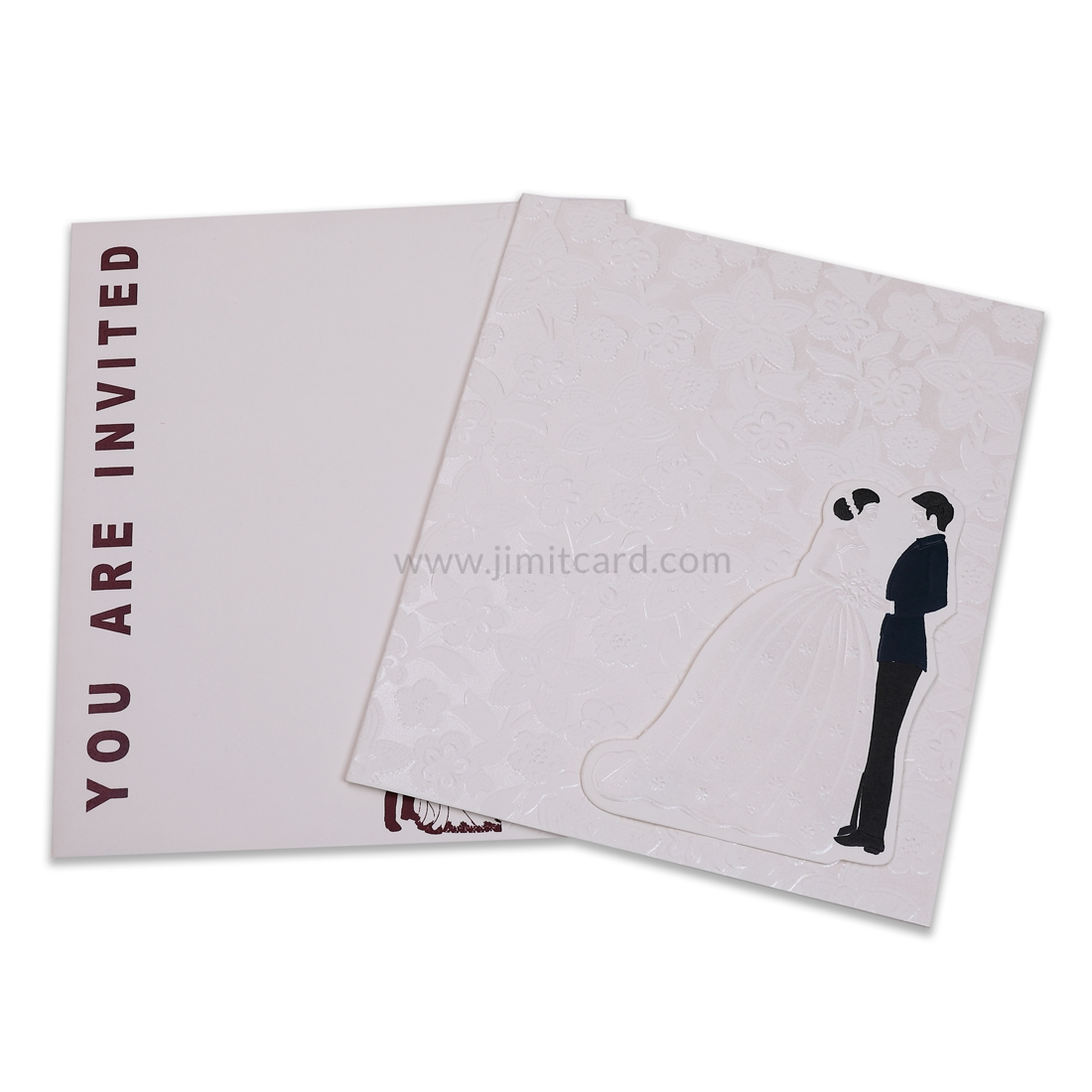 White Color Wedding Card With Self Printed Flowers-0