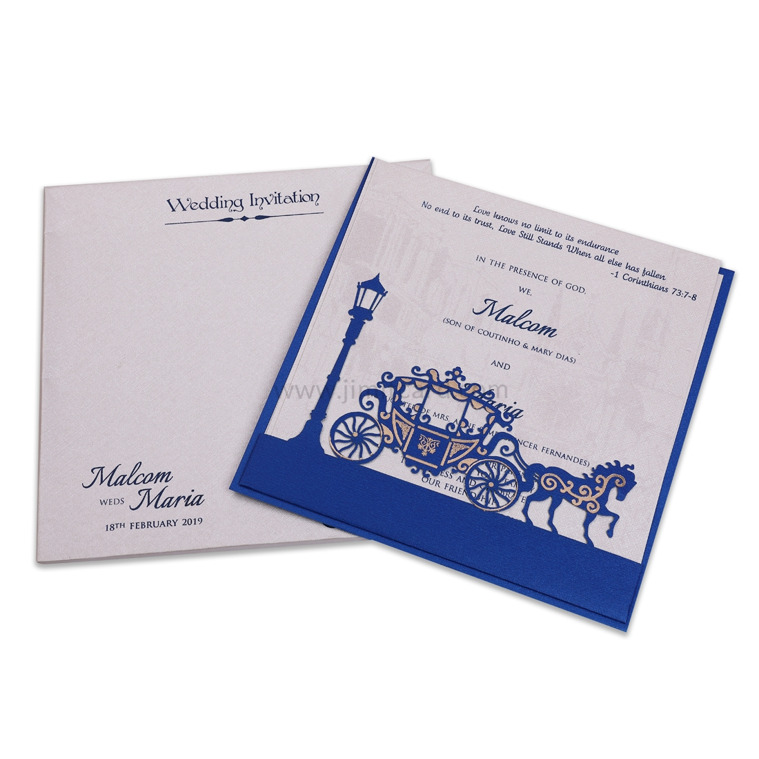 Silver and Blue Wedding Invitation Card with Laser Cut Work Design.-0