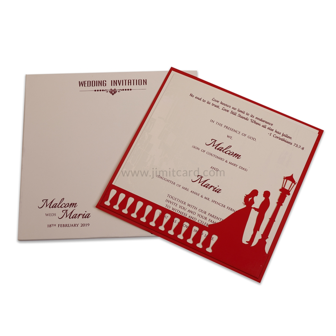 Cream and Red Wedding Invitation Card with Bride and Groom in Laser Cut-0