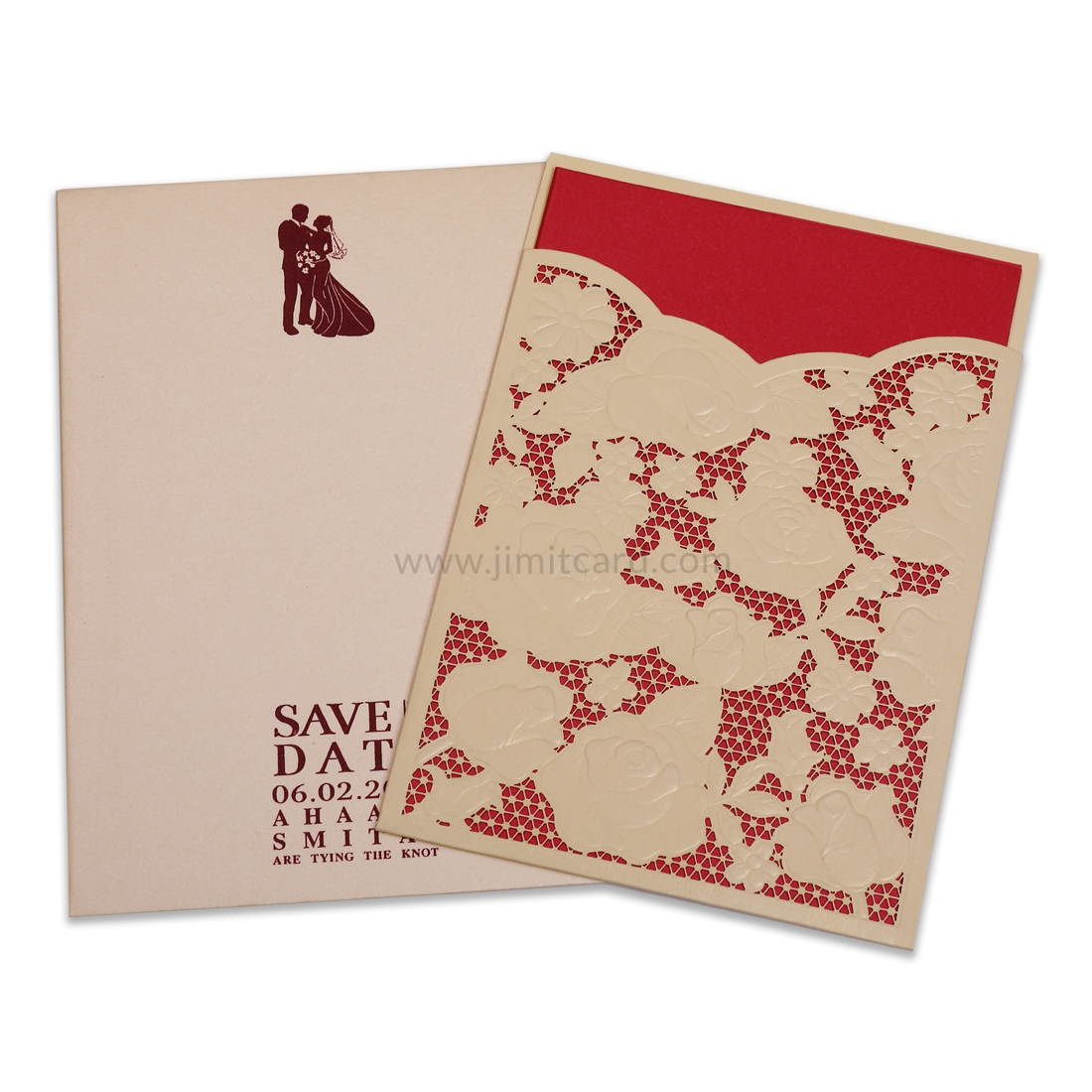 Golden Rose Laser Cut Wedding Card with Red Invitation-0
