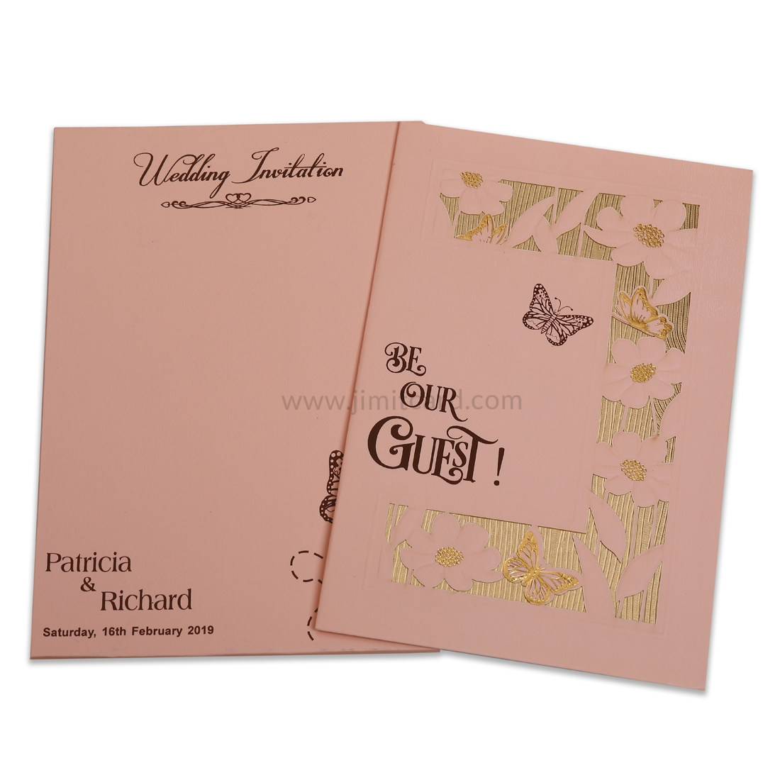 Peach Color Wedding Invitation Card With Laser Cut Flowers and Butterflies -0