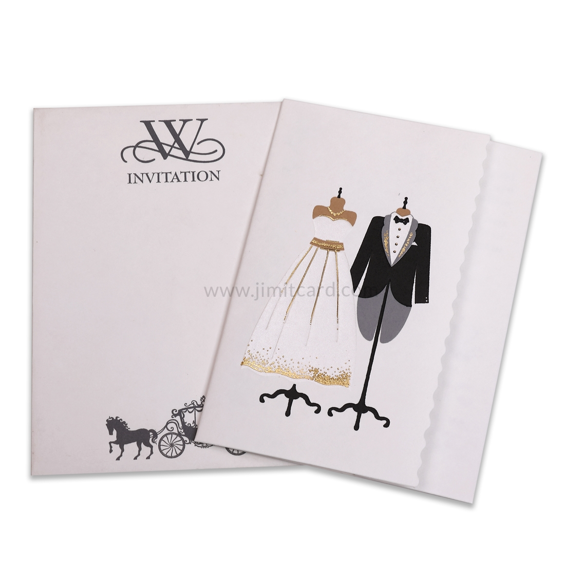 Wedding Card with Painted Bride and Groom Outfits-0