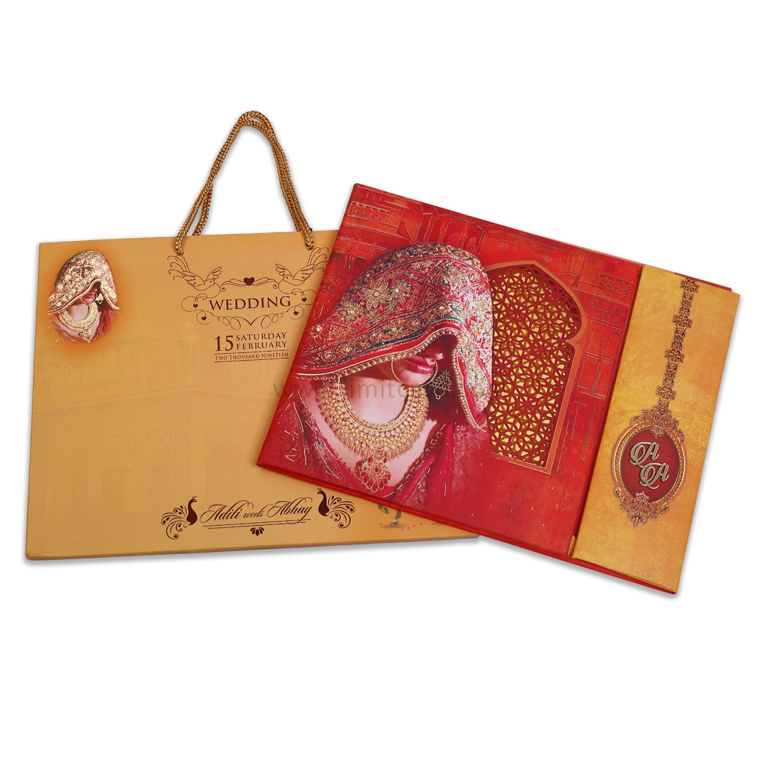 Royal & Exclusive Bride and Groom Carry Bag Style Wedding Card -0