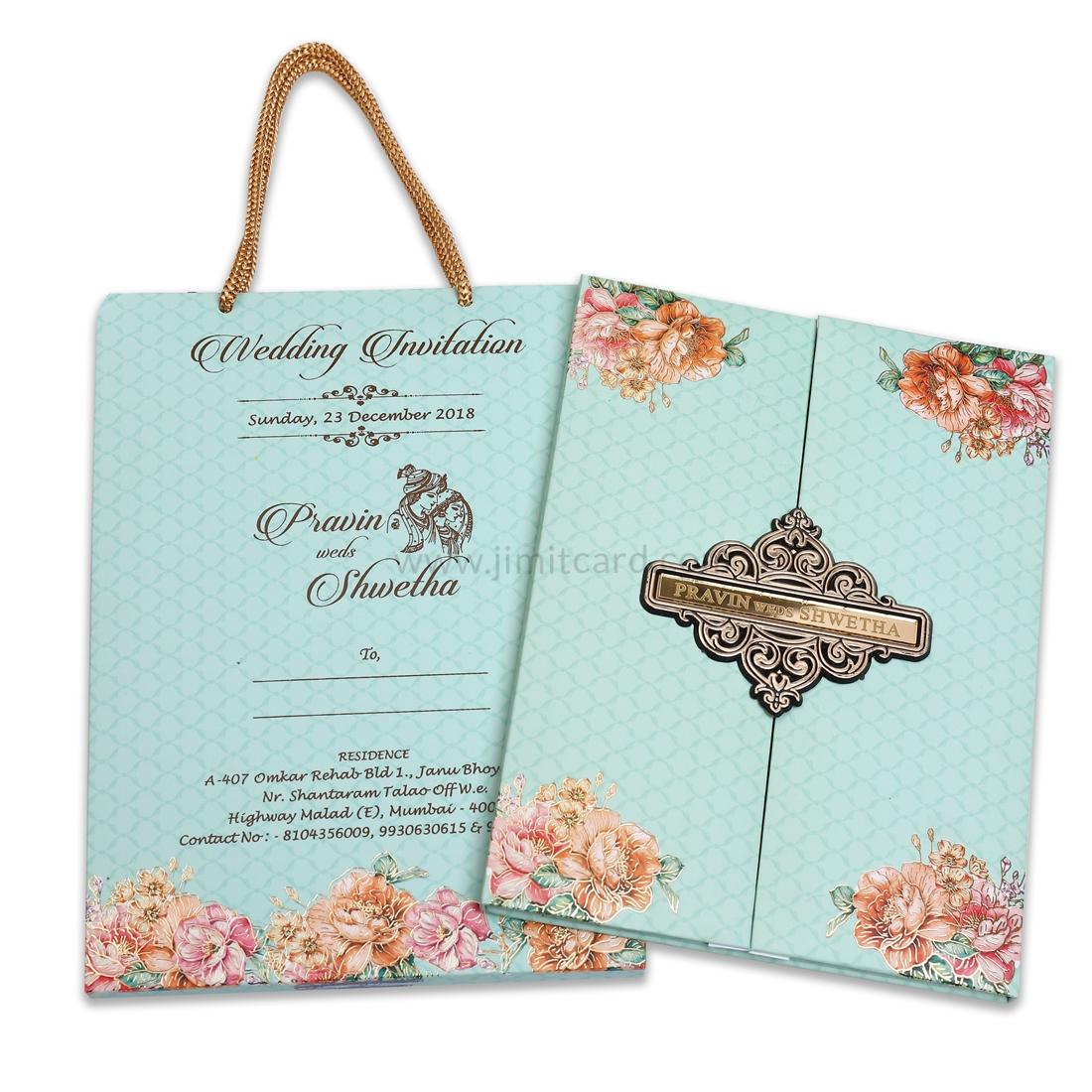 Sea Blue Color Open Door Style Wedding Invitation Card-0