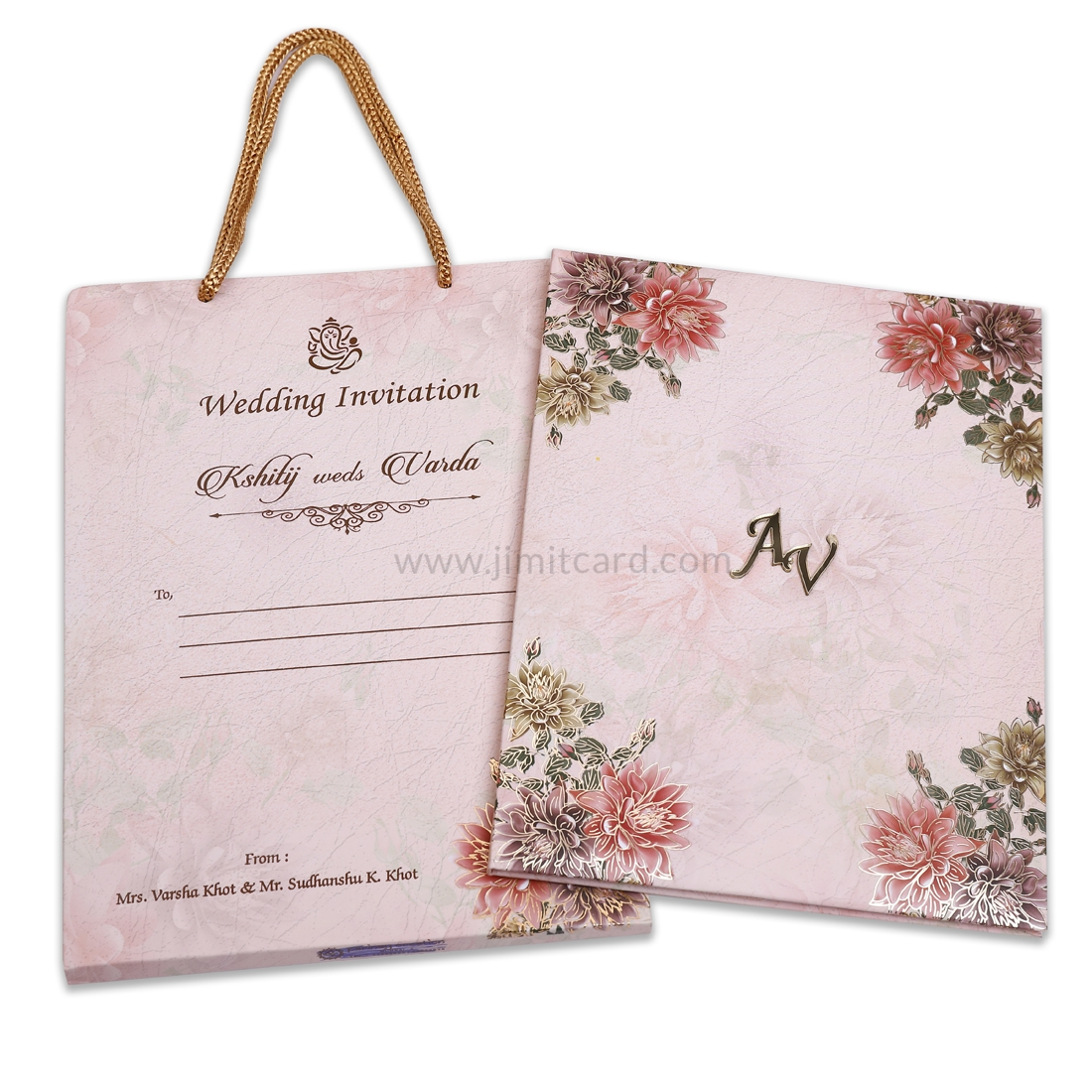 Pinkish Peach Carry Bag Style Wedding Invitation Card-0