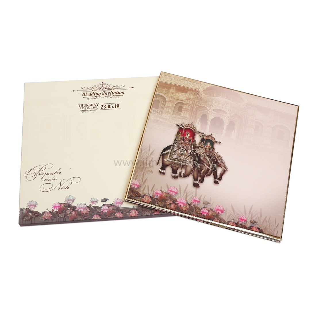 Brown and Cream Color With Royal Palace And Elephant Design-0