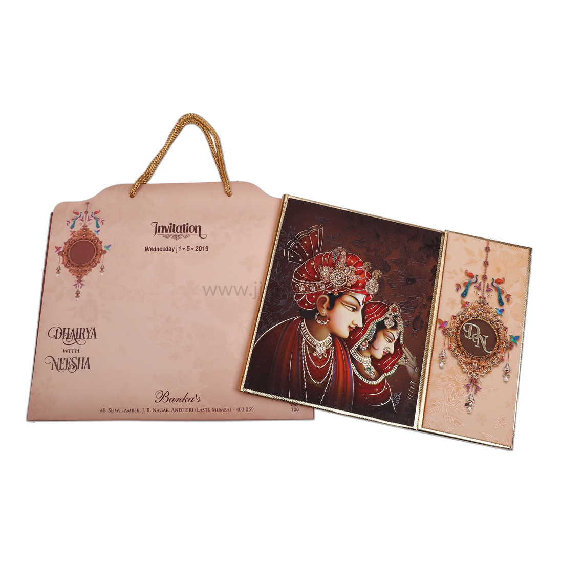 Unique Cut Carry Bag Style Bride and Groom Wedding Invitation Card-0