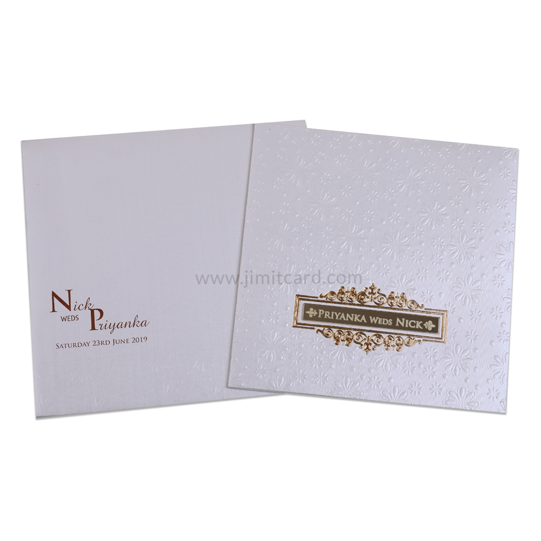 White and Golden Wedding Invitation card with Flower Embedded design -0