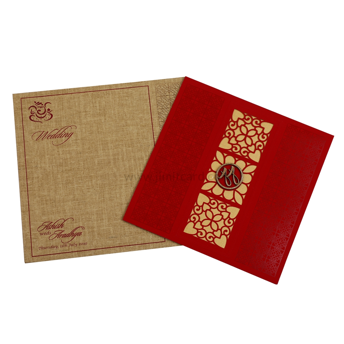 Red Color Laser Cut Wedding Card with Self Printed Designs and Customize Initials-0