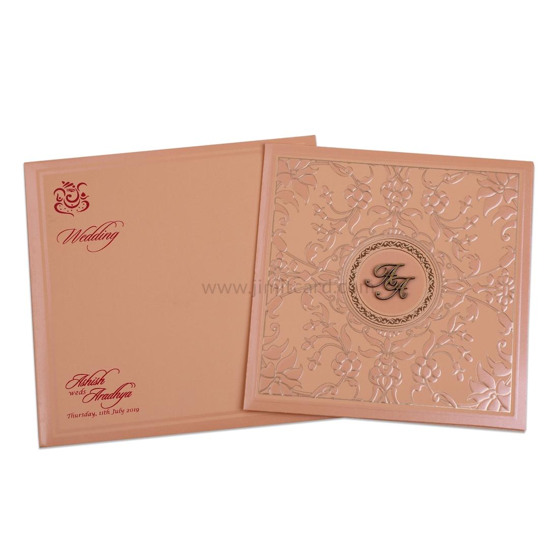Peach Wedding Invitation Card with Shinny Peach Floral Embedded Designs-0