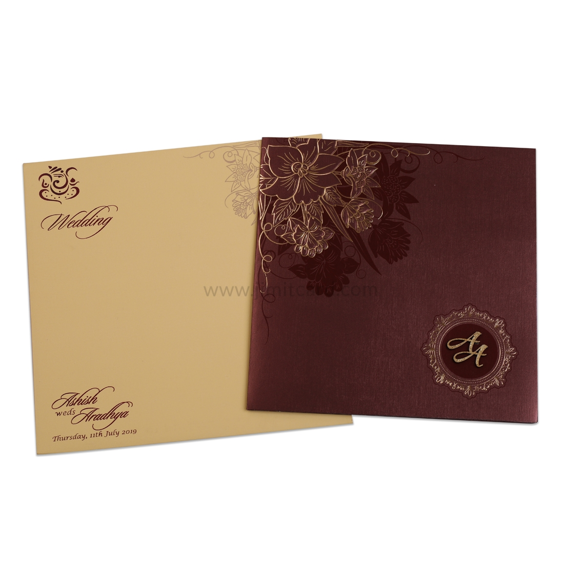 Shinny Maroon Wedding Invitation Card with Golden Flower Designs and Customize Initials-0
