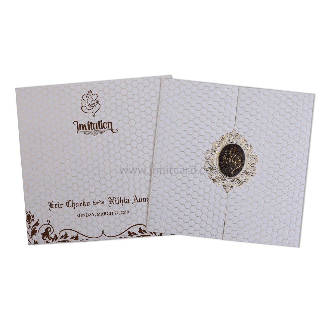 White Door Open Style Wedding card with beautiful Ganesha on the Center-0