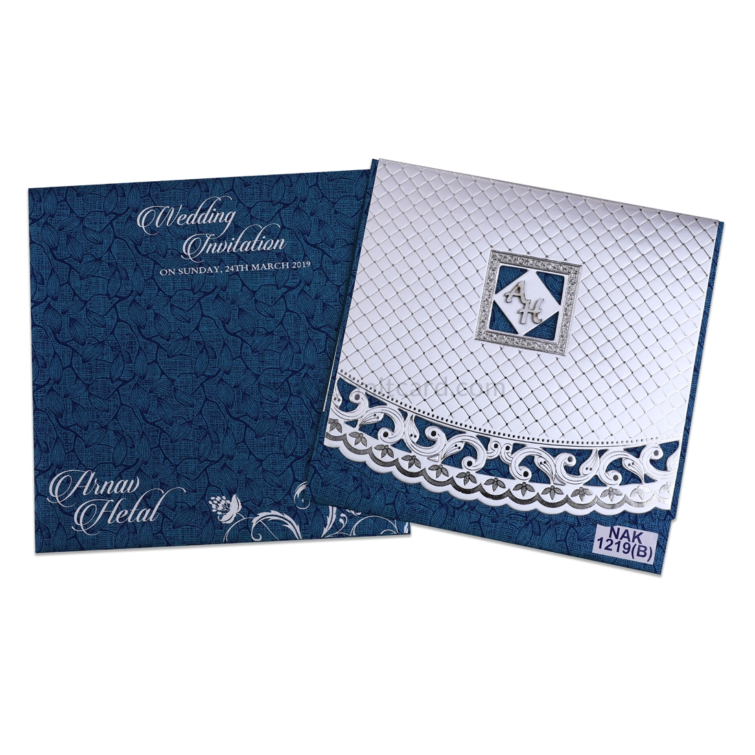 Royal Blue wedding card with matte silver cover with silver invitations-0