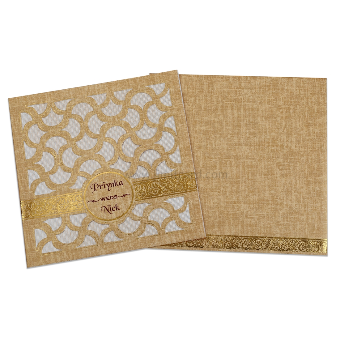 Beige Color Laser Cut Wedding Card with Golden Thick Strip -0